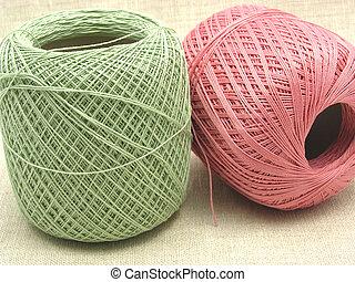 Cor-de-rosa, Bolas, dois, verde, fundo, lã