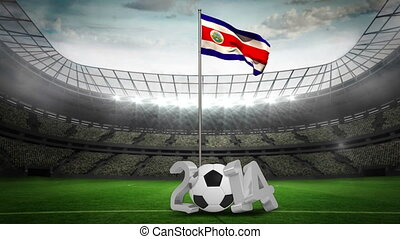 Costa Rica national flag waving on pole with 2014 message on...