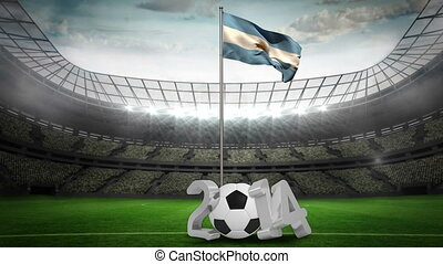 Argentina national flag waving on pole with 2014 message on...