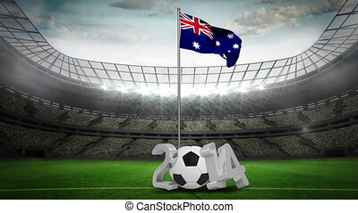 Australia national flag waving on pole with 2014 message on...
