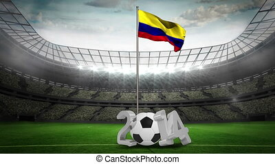 Colombia national flag waving on pole with 2014 message on...