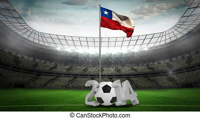 Chile national flag waving on pole with 2014 message on...