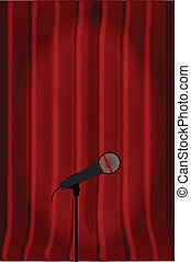 Radio Microphone - Dark red curtains with a spotlight on a...