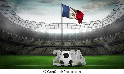 France national flag waving on pole with 2014 message on...