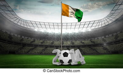 Ivory coast national flag waving on pole with 2014 message...