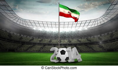 Iran national flag waving on pole with 2014 message on...