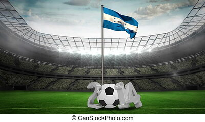 Honduras national flag waving on pole with 2014 message on...