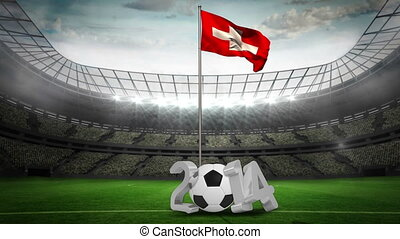 Switzerland national flag waving on pole with 2014 message...
