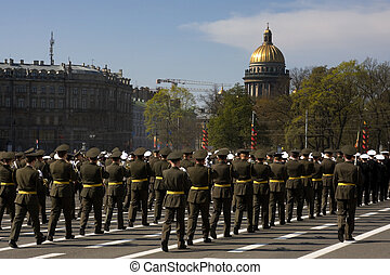 Military parade in St.Petersburg, Russia, in honor of...