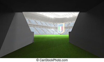 Italy world cup message with badge and text in large digital...