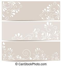 3 Banner mit Ornamenten in beige