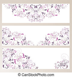 3 Banner mit Ornamenten in lila