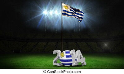 Uruguay national flag waving on pole - Uruguay national flag...