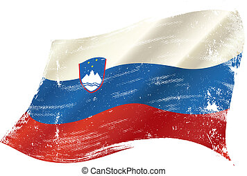 waving slovenian grunge flag - A waving flag of Slovenia...