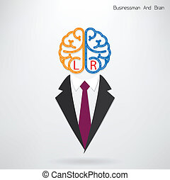 businessman symbol with left and right brain sign ,design...