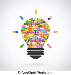 Creative puzzle light bulb Idea concept background,education...