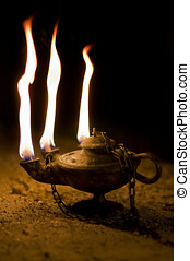 Aged Oil Lamp in dark cave