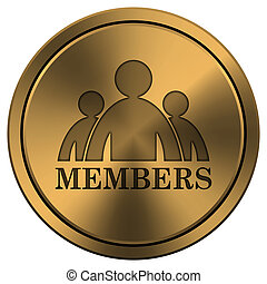 Members icon - Copper metallic internet icon on white...