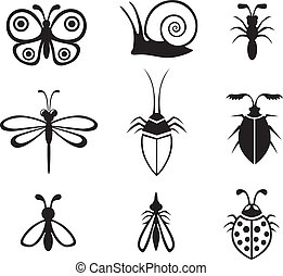 Insects set - Set of black-and-white image different insects