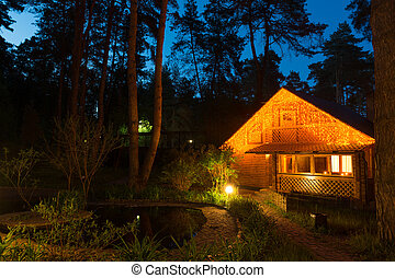 Idyllic house - Cozy house by the pond in the conifer forest...