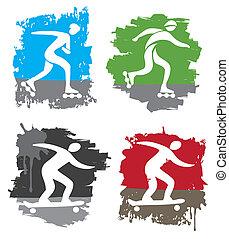 In-line skating skateboard icons
