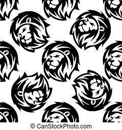 Seamless pattern of a proud lion with a bushy mane in a...