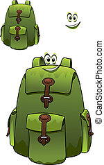 Green rucksack with a cute grin - Green rucksack or backpack...