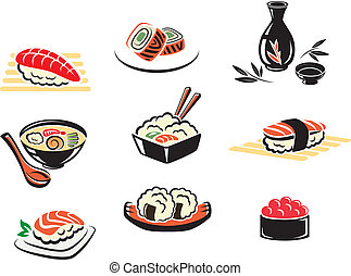 Set of Japanese seafood icons with , sushi, sashimi,...