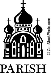 Parish church illustration - Black and white Parish church...