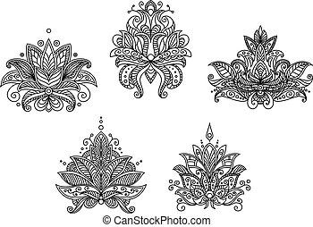 Turkish, indian and persian paisley floral motifs set...