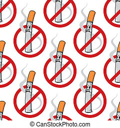 No Smoking seamless background pattern with a cigarette with...