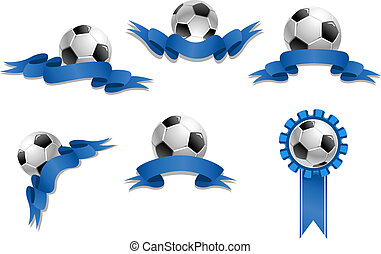 Set of soccer balls with blue ribbons