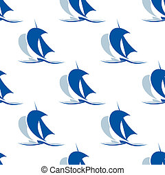 Yacht with sails seamless pattern - Blue nautical yacht...
