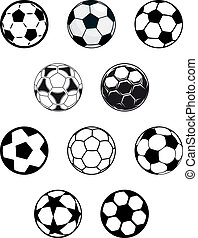 Set of soccer or football balls - Set of different black and...