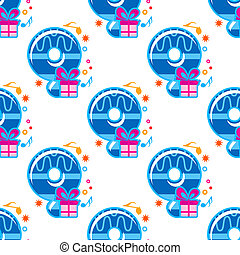 Number 9 childish seamless pattern