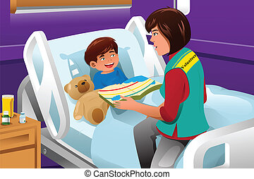 Volunteer at the children hospital - A vector illustration...