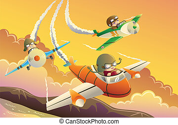 Kids in an airplane race - A vector illustration of happy...