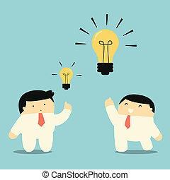 Bigger and brighter idea - Businessman showing bigger and...
