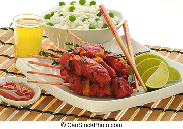 Chicken Satay - Spicy chicken satay served with white rice