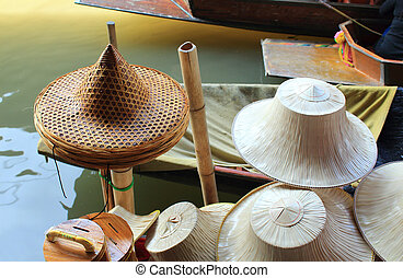 Hat in floating market in Thailand