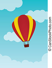 hot air balloon - Red and yellow hot air balloon, travelling...