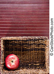 Background with apple - Background with a rectangular wicker...