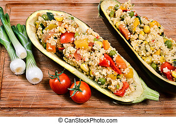 Couscous - couscous with vegetables inside a hollowed...