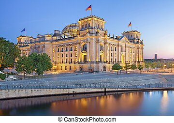 Berlin Reichstag. - Image of illuminated Reichstag Building...