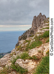 Ai-petri Crimea Landscape - Rocky Mountain Peak with forest...