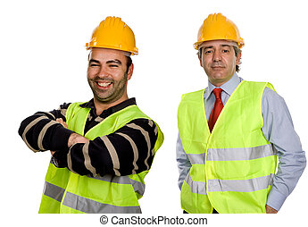 workers in a white background, focus on the left man