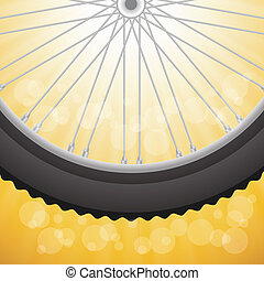 bicycle wheel - colorful illustration with bicycle wheell on...