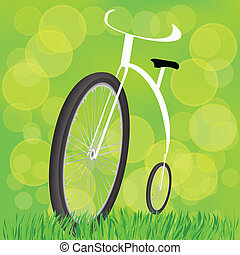 Retro-styled bicycle - colorful illustration with...