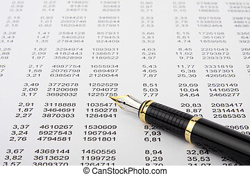 Financial report and pen