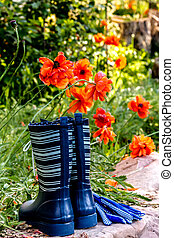 Colorful Gardening Tools in Garden - Brightly colored blue...